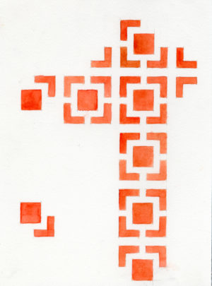 03. IMotif. square(red), 2005, h2o on paper, 9x12 inches