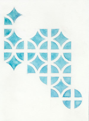 06. IMotif. diamond(blue), 2005, h2o on paper, 9x12 inches
