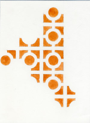 07.IMotif. moon (orange), 2005, h2o on paper, 9x12inches