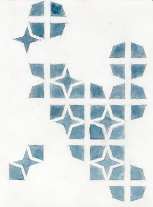 08. IMotif. four star(blue), 2005, h2o on paper, 9x12 inches