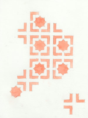 10. IMotif. star(pink), 2005, h2o on paper, 9x12 inches
